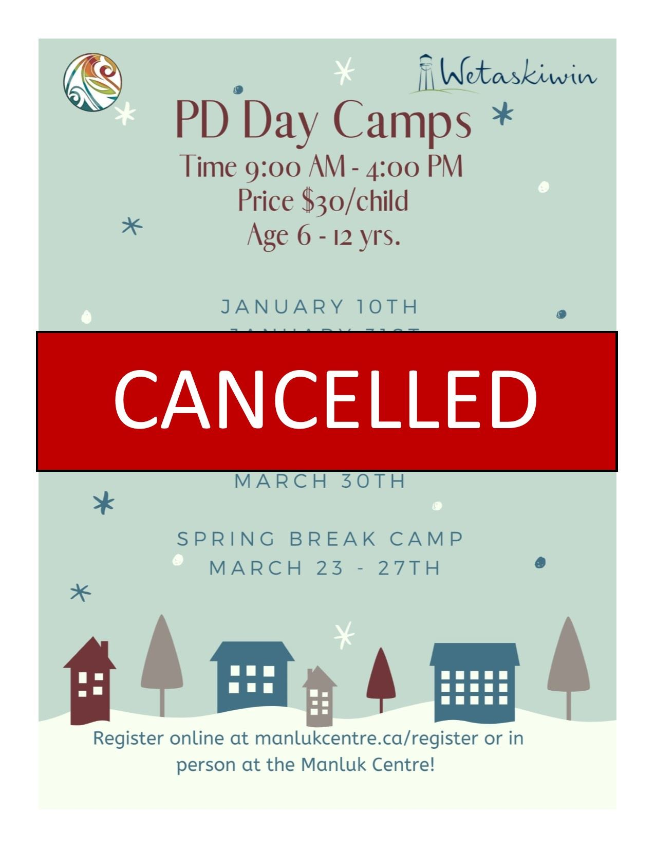 Overall Day Camp cancellation poster - Winter 2020