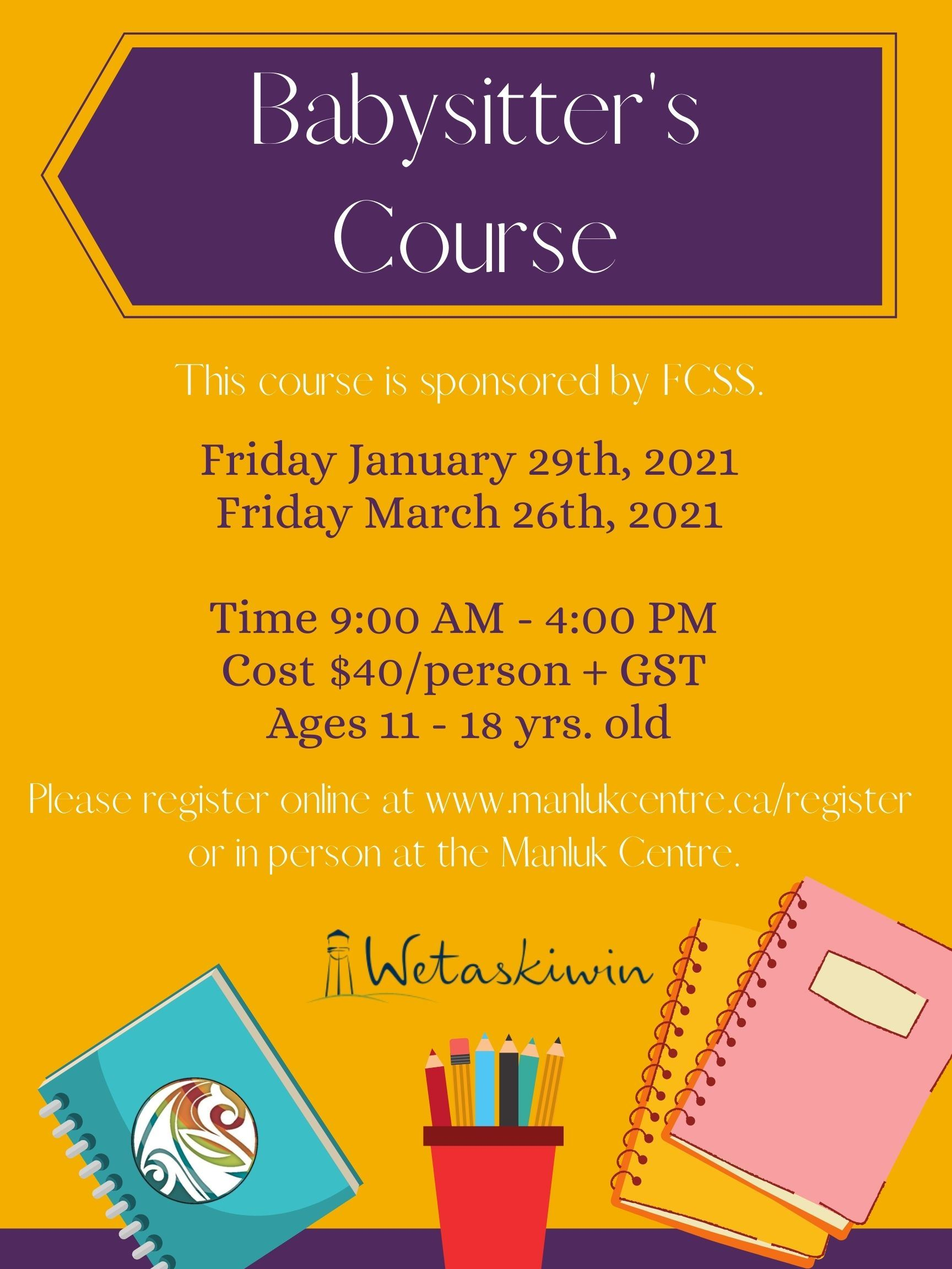 Babysitters Course Jan. 29th and Mar. 26th 2021 Poster