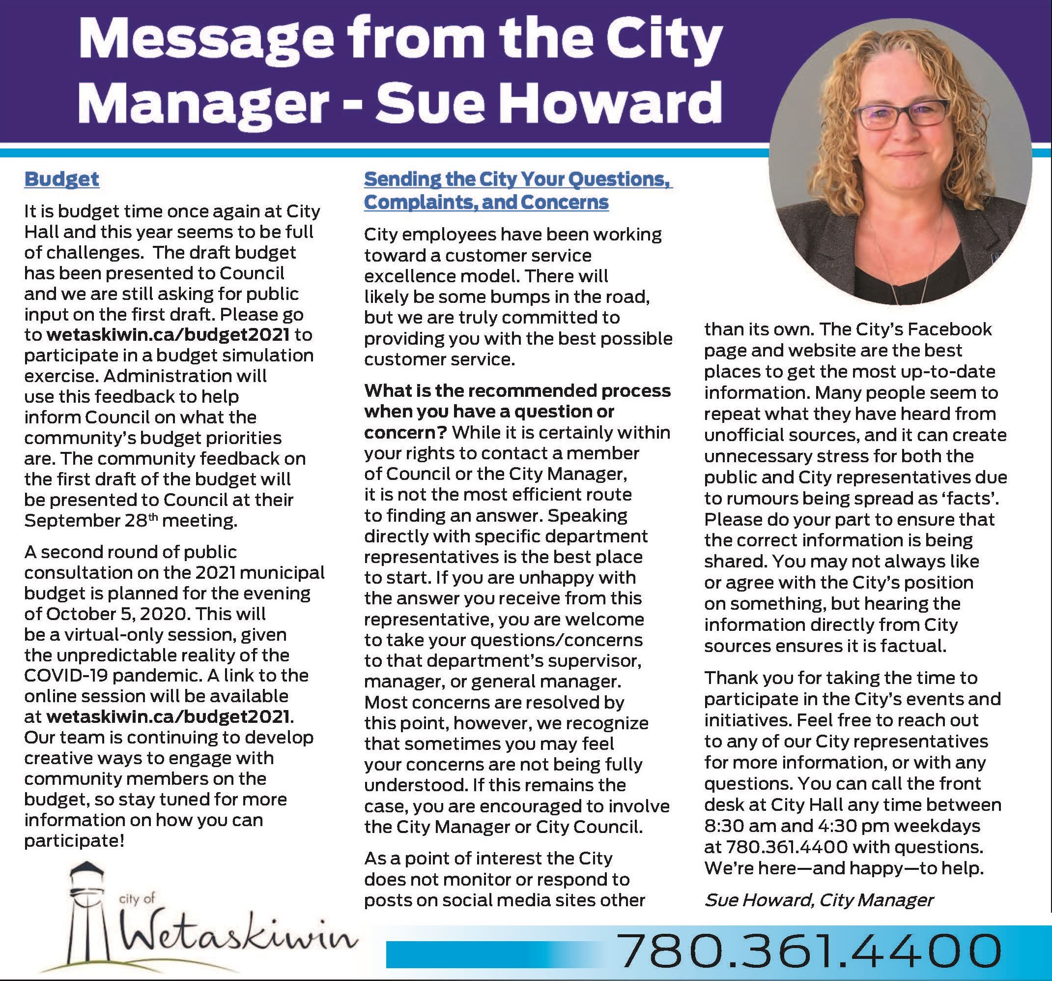 Message from the City Manager - Sept.17.2020 - cropped