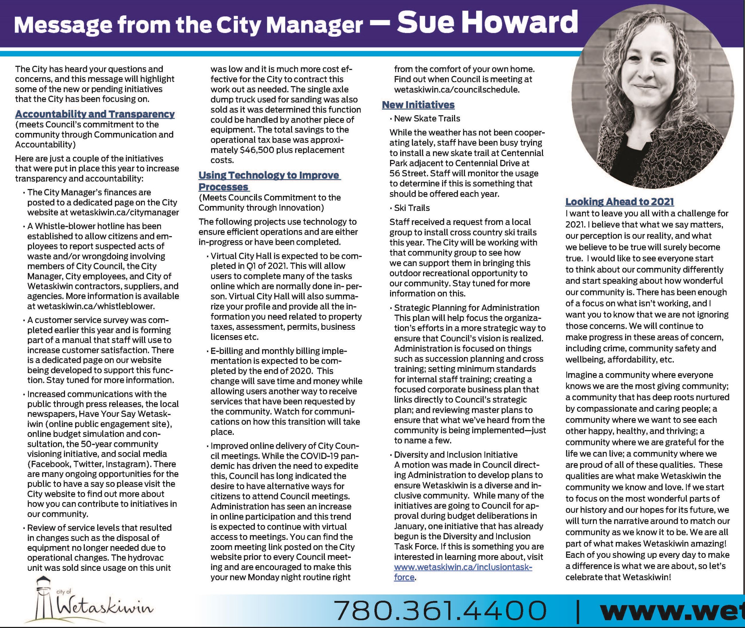 Message from the City Manager - Dec.17.2020 - cropped